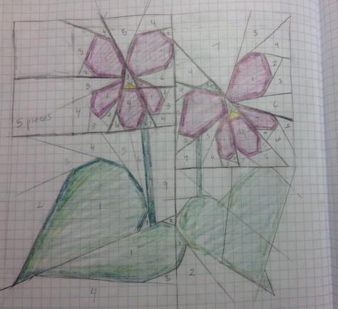 Violet paper pieced pattern