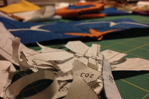 Tearing away the bits of paper after piecing a block very well may be my favorite part of paper piecing....