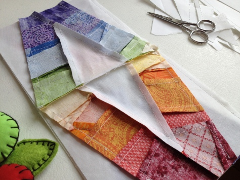 I love the complexity of the backs of paper pieced quilt blocks.