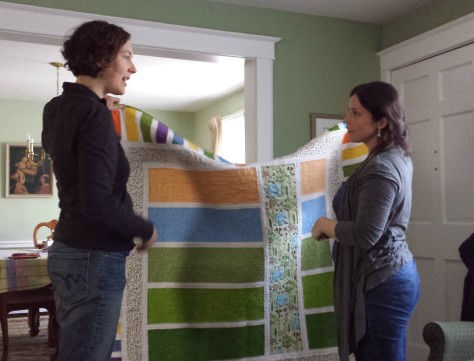 Gifting the quilt and discussing the little details.