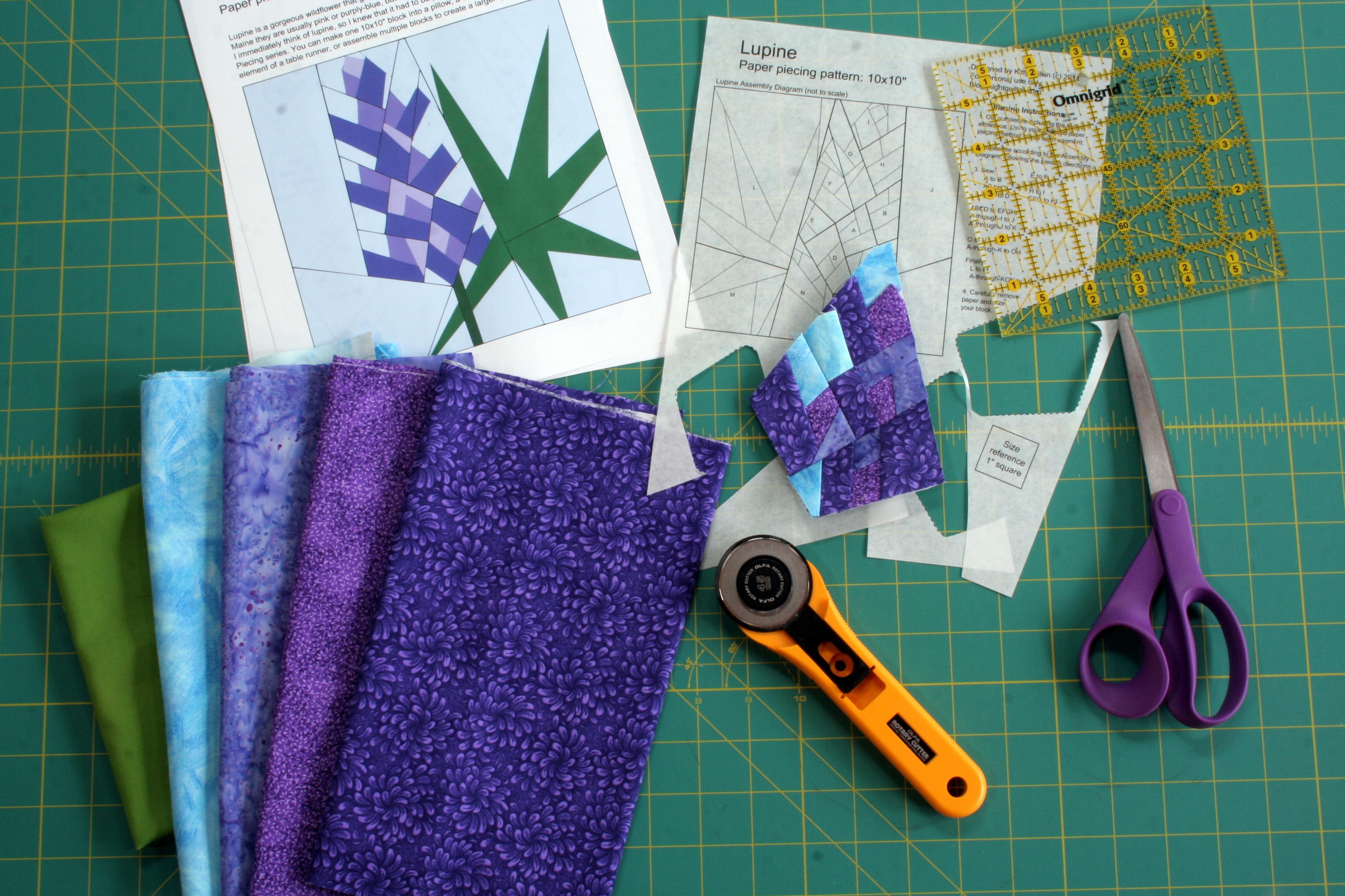 Work In Progress Lupine Paper Piecing Pattern Night Quilter
