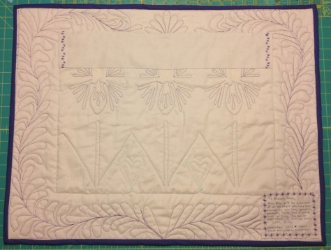 June's Irises - Back: You can see my first ever free motion quilting