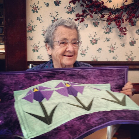 Grammy June and her quilt