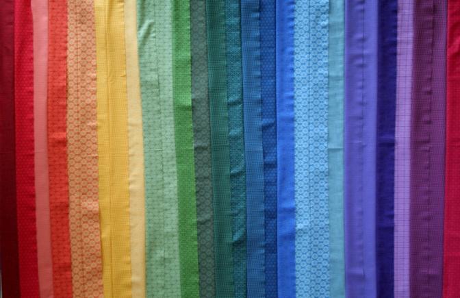 Work in Progress: Rainbow Jellyroll Quilt