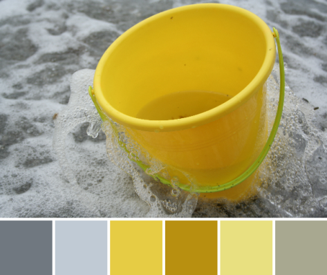 yellow bucket in the surf color palette