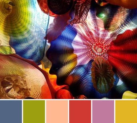 rainbow color palette glass art