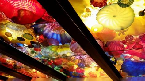 Part of Dale Chihuly's suspended 1,400-piece, 100-foot-long sculpture in the Chihuly Garden and Glass in Seattle, Washington.
