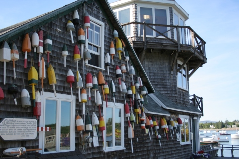 buoys on a building maine coast