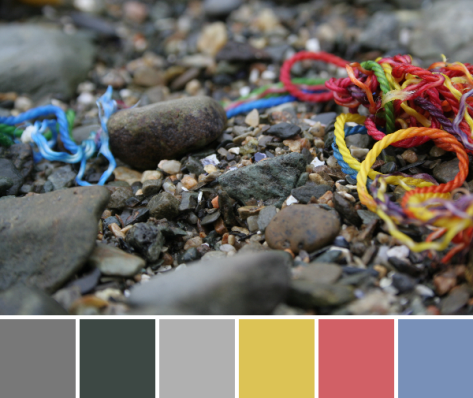 rainbow thread on rocky beach color palette