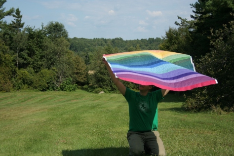 rainbow quilt top windy outtake