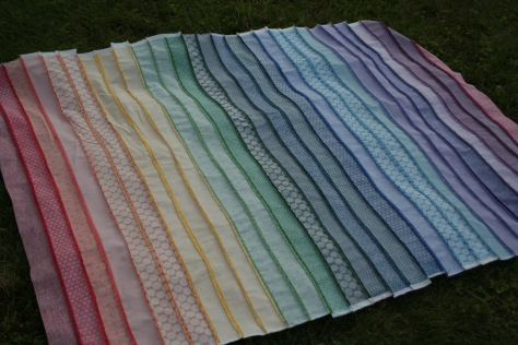 rainbow jellyroll quilt top back