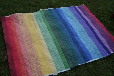 rainbow jellyroll quilt top front