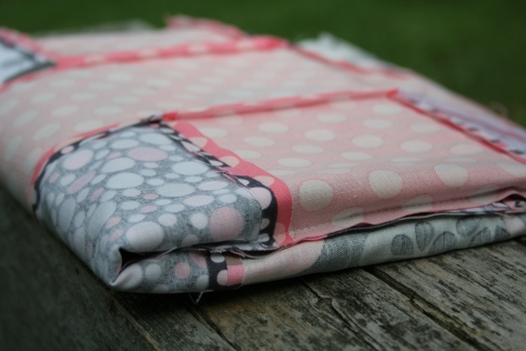 pink and grey baby plus quilt top finish