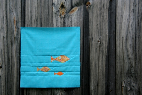 fishies foundation paper piecing quilt panel