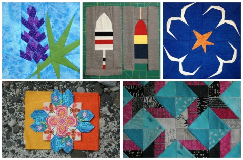 Recent quilty works, from top left to right: 1. Lupine paper piecing pattern, 2. Buoys 1 & 2 paper piecing patterns, 3. Circling gulls paper piecing pattern, 4 (bottom left). Lucy Boston Patchwork of the Crosses, 5. My first quilt made for myself... still in progress!