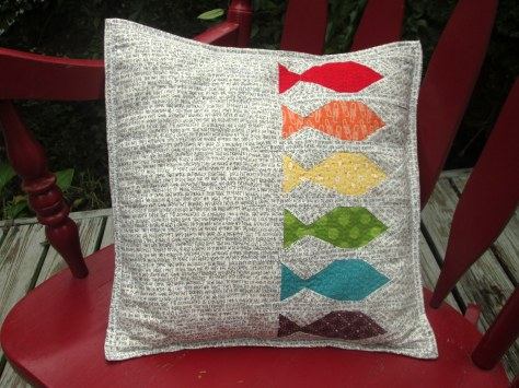 Rainbow Row Fishies Pillow made by Julie Schloemer