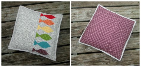 rainbow row fish pillow