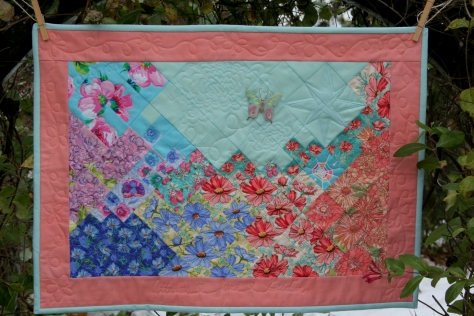 garden quilt finish butterfly flower