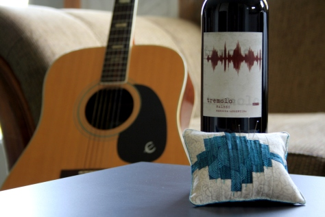 Tremolo wine  inspired pincushion quilting