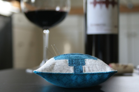 tremolo wine inspired quilted pincushion