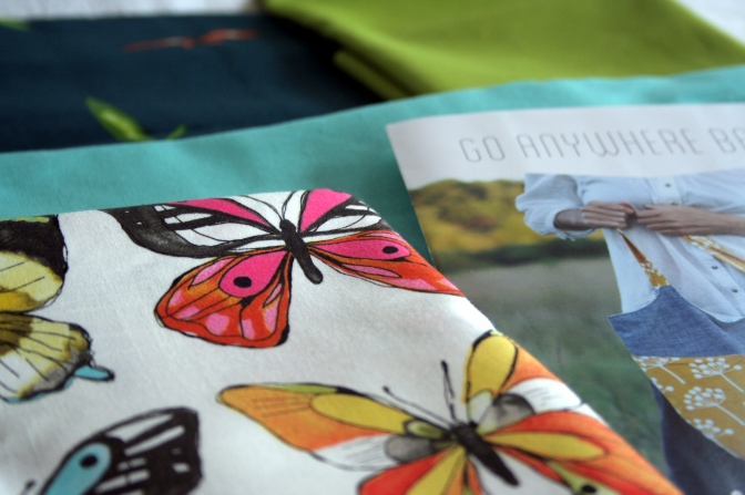 butterfly fabric for my first bag