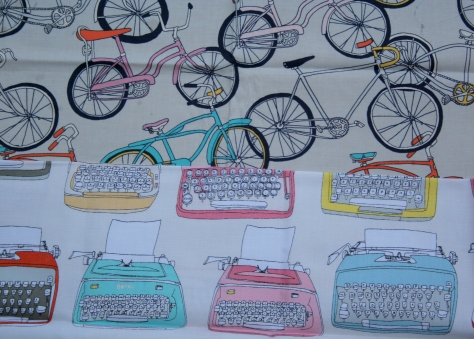 bicycle and typewriter fabric