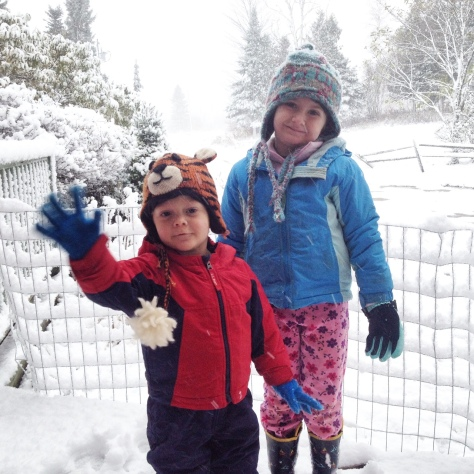 My children enjoyed playing in the snow. Here they are, mid-storm, making the most of it!