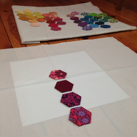 evolution of a modern hexies mini quilt