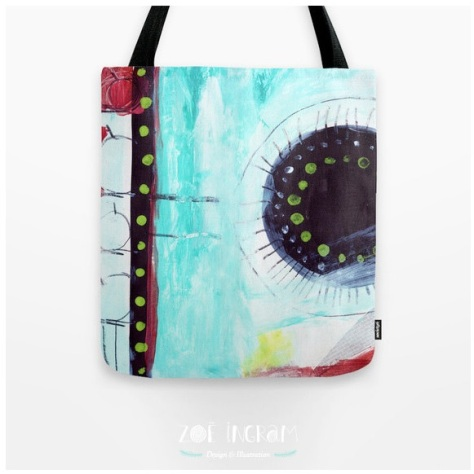 One of my favorite's: A tote bag featuring Zoe's original artwork, available in her Etsy shop.
