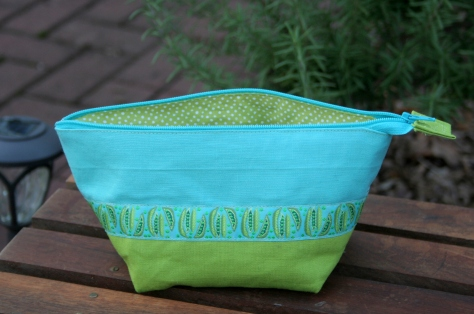 noodlehead wide open zipper pouch teal lime green