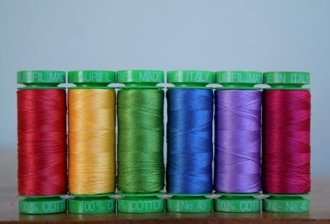 rainbow aurifil thread