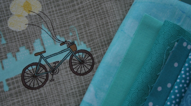 teal bicycle fabric pull