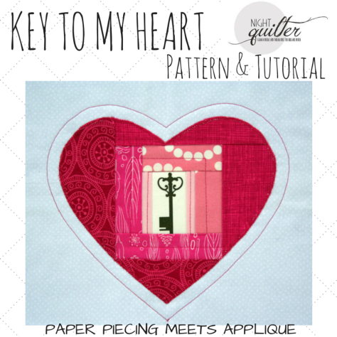 KEY TO MY HEART paper piecing and applique pattern
