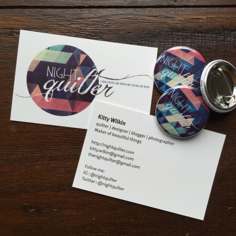 business cards and pin back buttons