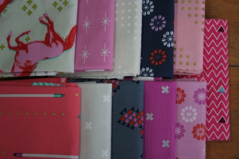 pink cotton and steel mustangs fabric bundle