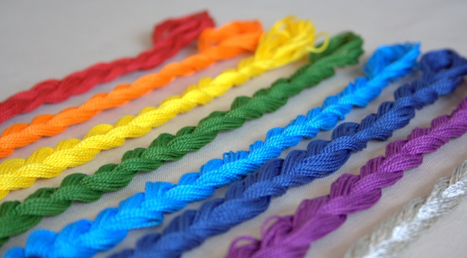 Rainbow embroidery floss braids