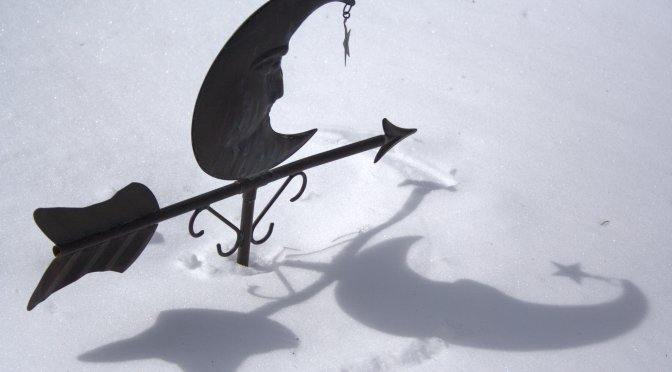 weather vane moon in snow
