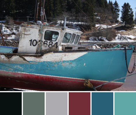 battered bay of fundy boat color palette