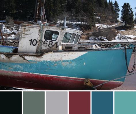 battered bay of fundy boat color palette