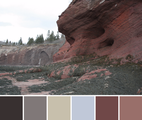 red rocks bay of fundy color palette