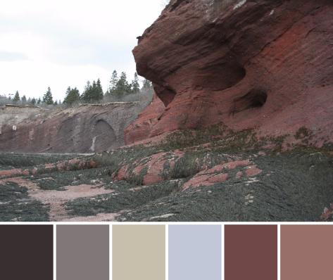 red rocks bay of fundy color palette