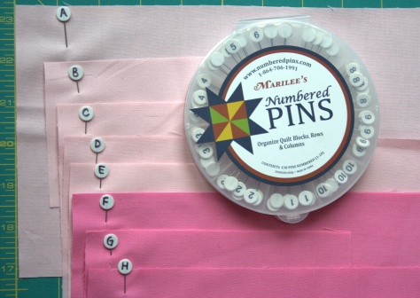 numbered quilting pins