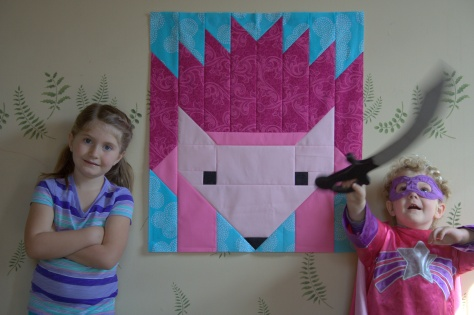 giant pink hazel hedgehog and kids for scale