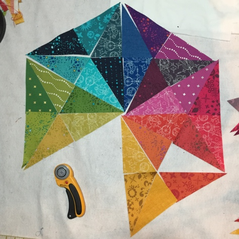 alison glass prismatic medallion mini quilt progress