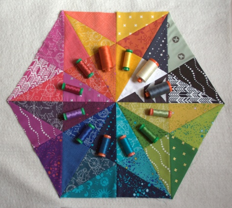 prismatic medallion flimsy finish and matching aurifil thread