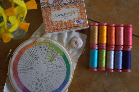 dropcloth embroidery sampler aurifil 12 wt thread and needle minder