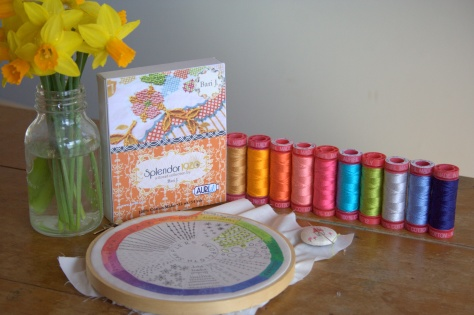 dropcloth embroidery sampler and aurifil 12 wt thread