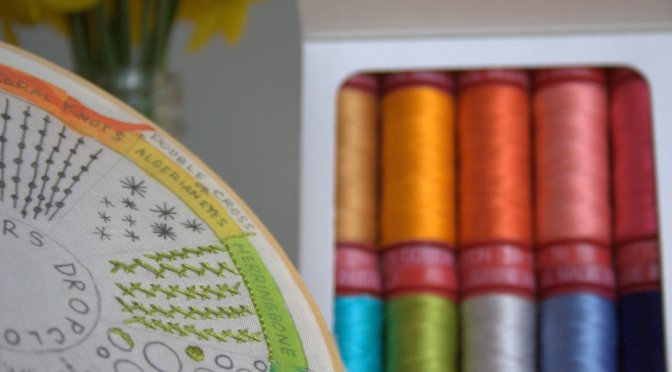 dropcloth sampler and aurifil 12wt thread by bari j