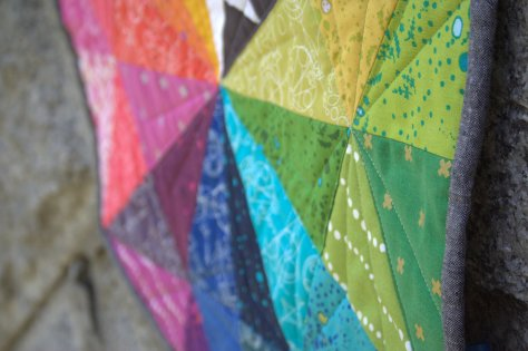 alison glass prismatic medallion roygbiv mini quilt finish