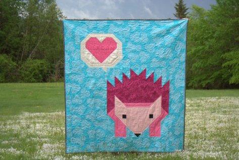 finished pinkalicious hazel hedgehog baby quilt